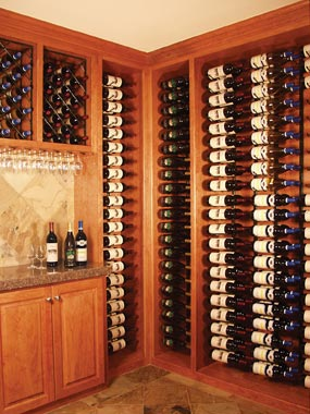 Wine racks for proper wine storage and wet corks-- from Rosehill Wine Cellars.