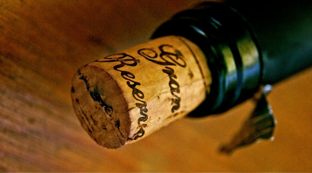 Storage angle and a wet cork in a bottle keeps wine from spoiling