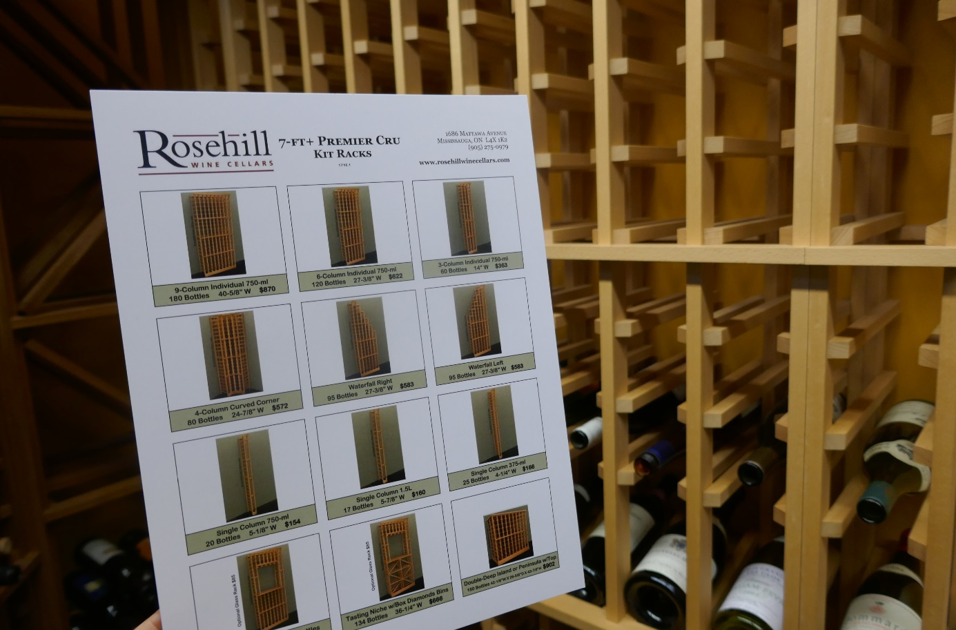wooden wine rack choices, wine cellar racking options available at Rosehill Wine Cellars