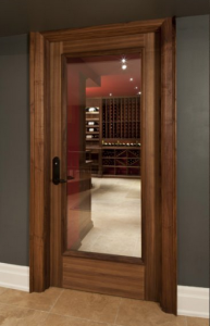 A secure lock is part of wine cellar design.