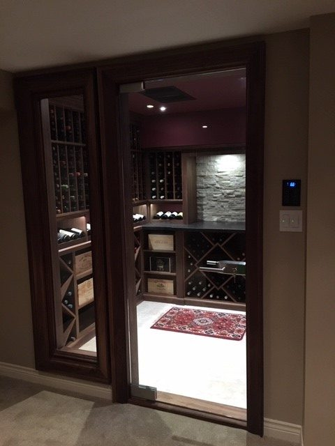 walnut glass wine cellar door with lock