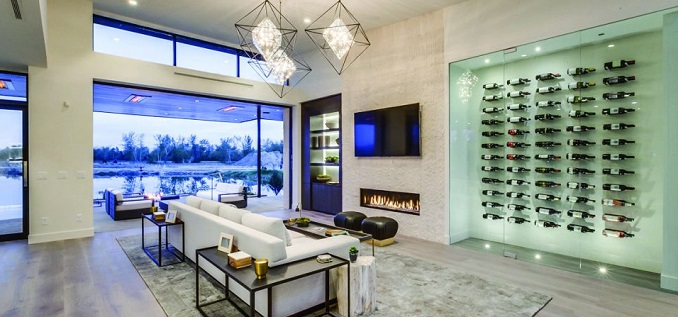 wine cellar in dining room of upscale home, cottage