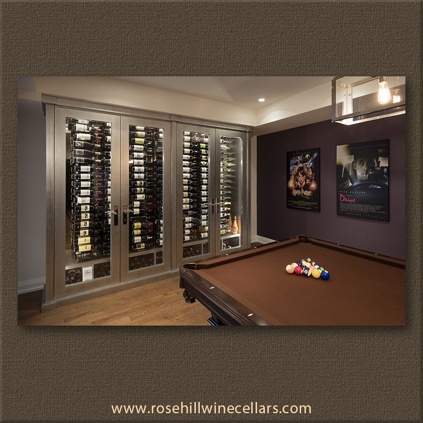 wine cellar in basement rec room, billiards table