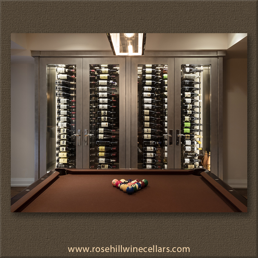 wine cellar in downstairs rec room of upscale house