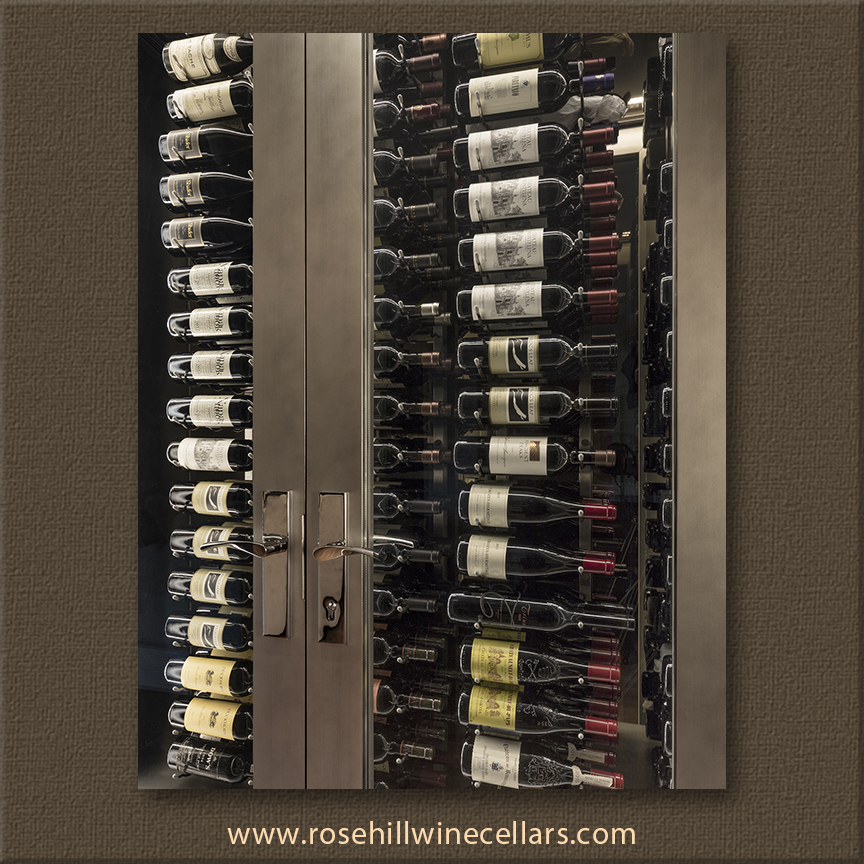 Vintage View metal wine racks make wine bottles the focal point.