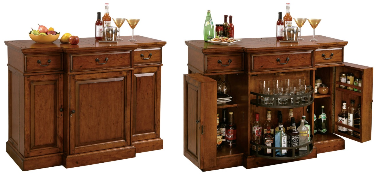 Howard Miller bar furniture, wine cabinet with doors open, console