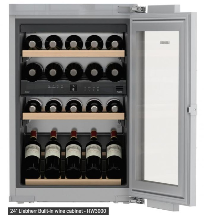 Leibherr wine fridge with UV protected / insulated glass doors, 24 inch