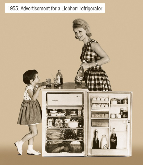 early Liebherr refrigerator advertisement for Geman market - 1955