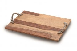 Wooden Rectangular Tray with Rope Handles
