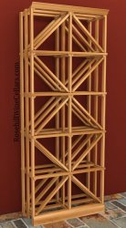 Double Column Diamond Wood Wine Rack 6ft+