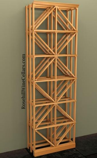 Double Column Diamond Wood Wine Rack 7ft+ - Click Image to Close