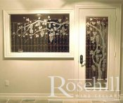 (34) White on White Wine Cellar Door with Etched Grapevine Design SL