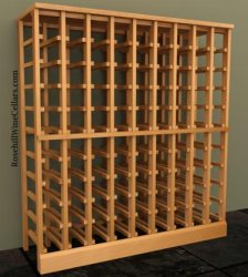 Half Height - 9 column 750mL Wood Wine Rack 7ft
