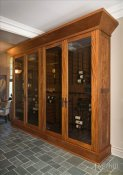 (15) Four Door Custom Wine Cabinet with Oversized Base and Crown SL