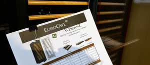 Eurocave schematics for wine cabinet for sale in Rosehill Wine Cellars' Mississauga showroom