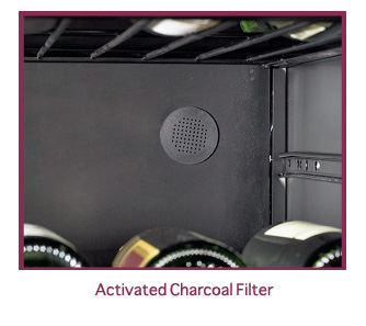 Wine cabinet activated charcoal filter