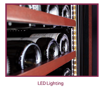 LED lighting in wine cabinet