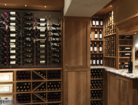 Wood and metal wine racking with textured wall