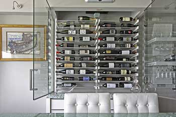 Modern White Glass Wine Cellar with acrylic wine racks