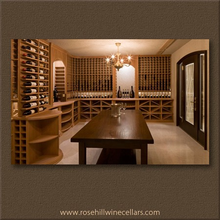 Custom wine cellar with table