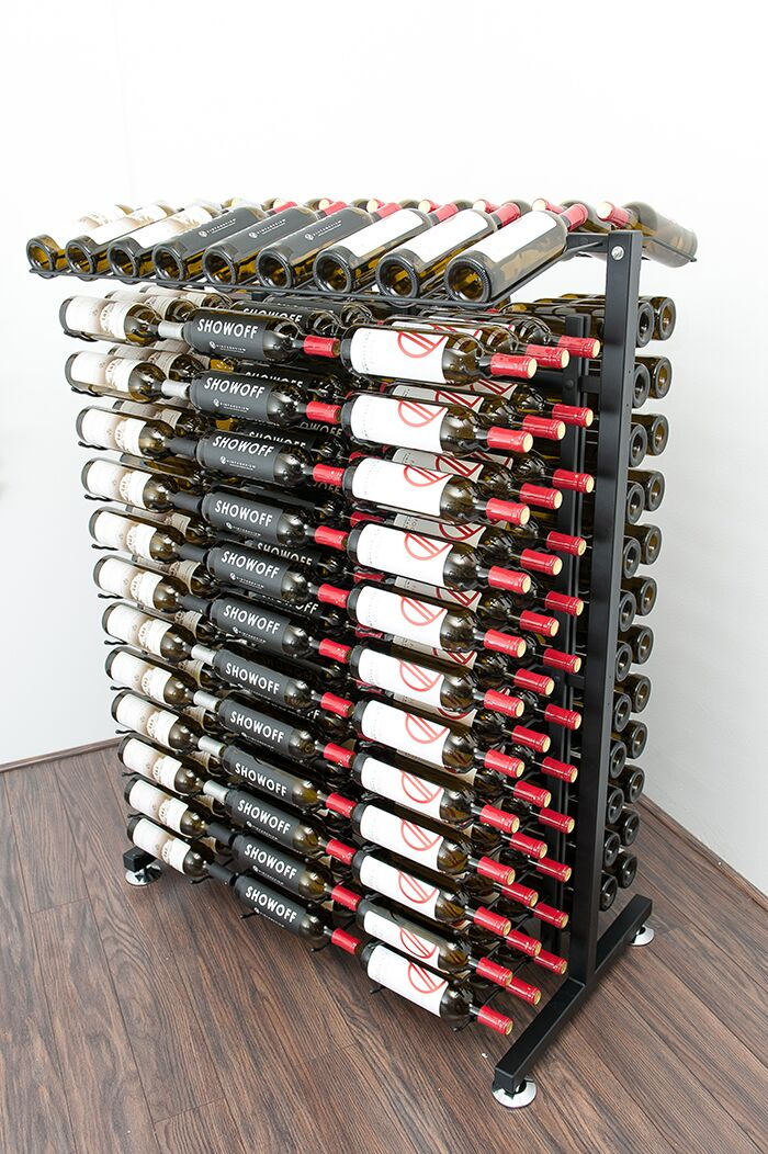 Wine rack with bottles